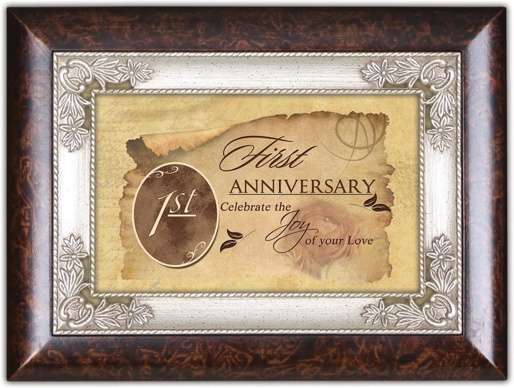 Cottage Garden First Anniversary Burlwood Jewelry Music Box Plays Unchained Melody