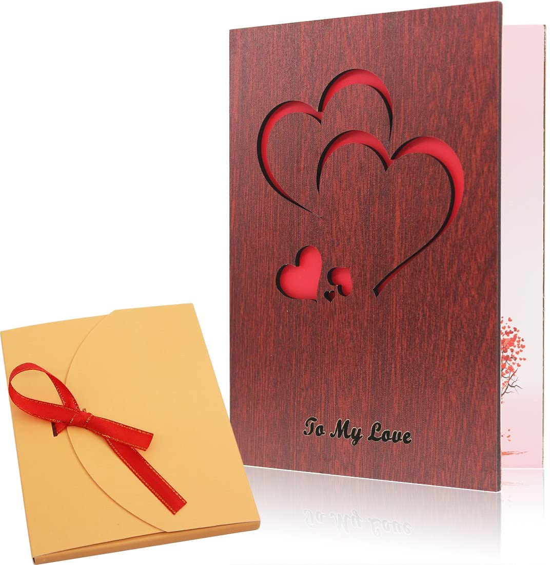 Creawoo Handmade Walnut Wood Love Greeting Card with Unique Gift Card Box The Best Birthday, Valentine's Day Anniversary Gift Idea Card.