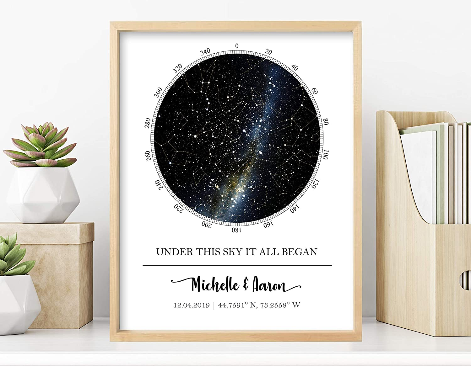 Custom Star Map - Personalized Star Map (Multiple Sizes - Unframed Star Prints, Star Constellation Map Wall Art, Great Gift - Special Occasion, Engagement Gift, Wedding Gift, Anniversary Gift)
