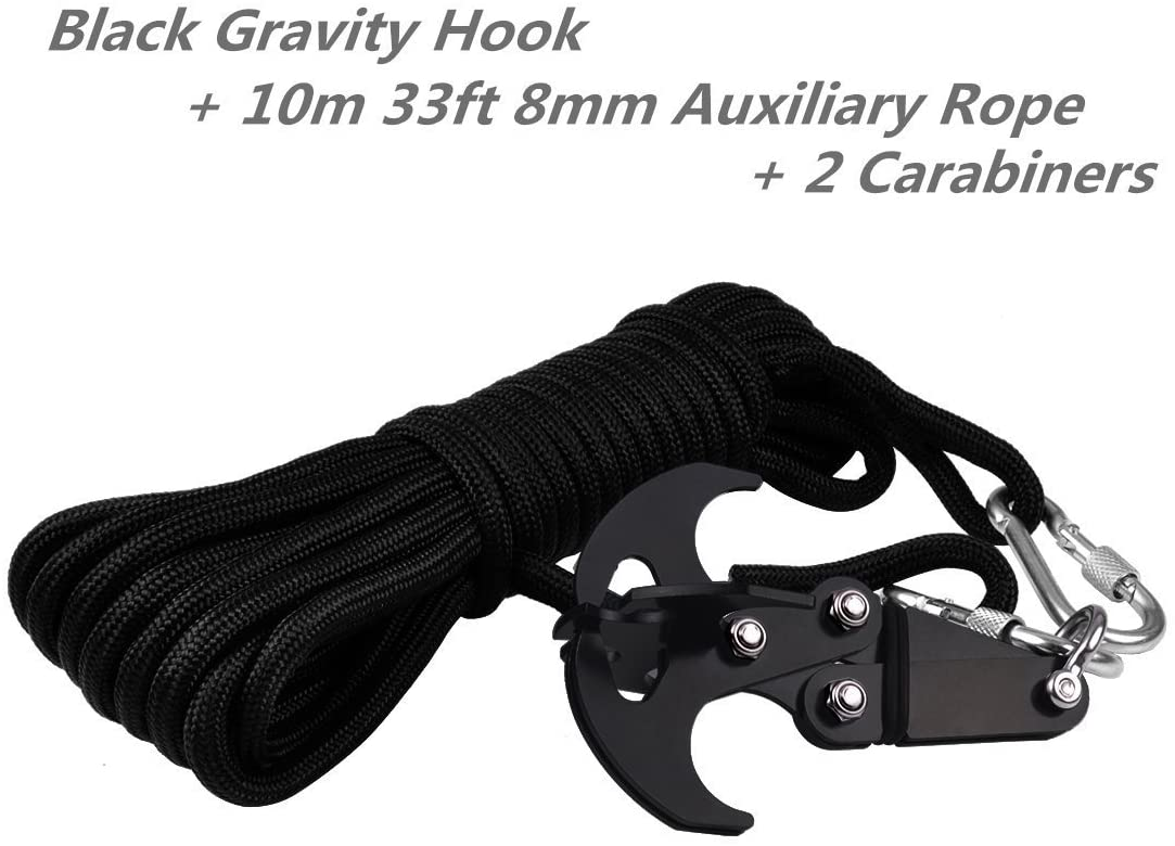 Cyfie Gravity Hook Grappling Hook-Black with 33ft 8mm Auxiliary Rope, Stainless Steel Multifunction Hook for Outdoor Activity EDC Tool in Bug Out Bag, Emergency Vehicle Traction, NOT for Exercising