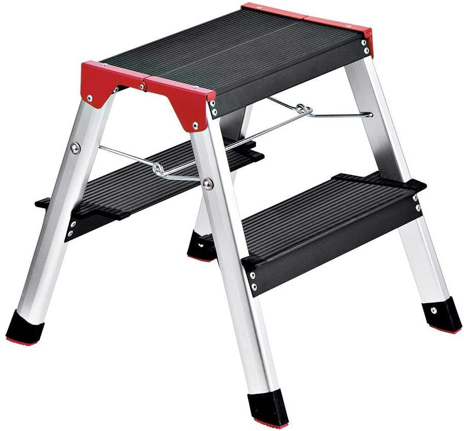 Delxo Lightweight Aluminum 2 Step Ladder RV Ladder Step Stool Folding Step Ladder with Anti-Slip Sturdy and Wide Pedal Ladder for Photography,Household and Painting 300lbs Capacity Black