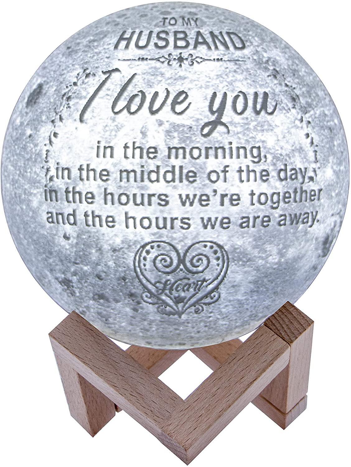 Engraved 3D Moon Lamp for Husband,Personalized 5.9 Inch 3D Printing Moon Light Gift for Husband Valentine's Christmas Gift (for Husband)