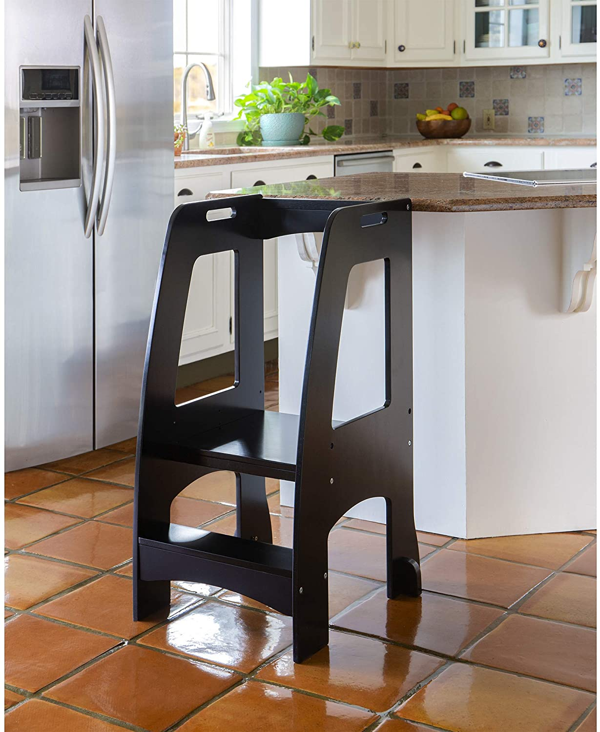 Guidecraft Kitchen Helper Tower Step-Up - Black: Wooden, Adjustable Counter Height, Learning Step Stool with Safety Rails for Little Children, Kids' Furniture