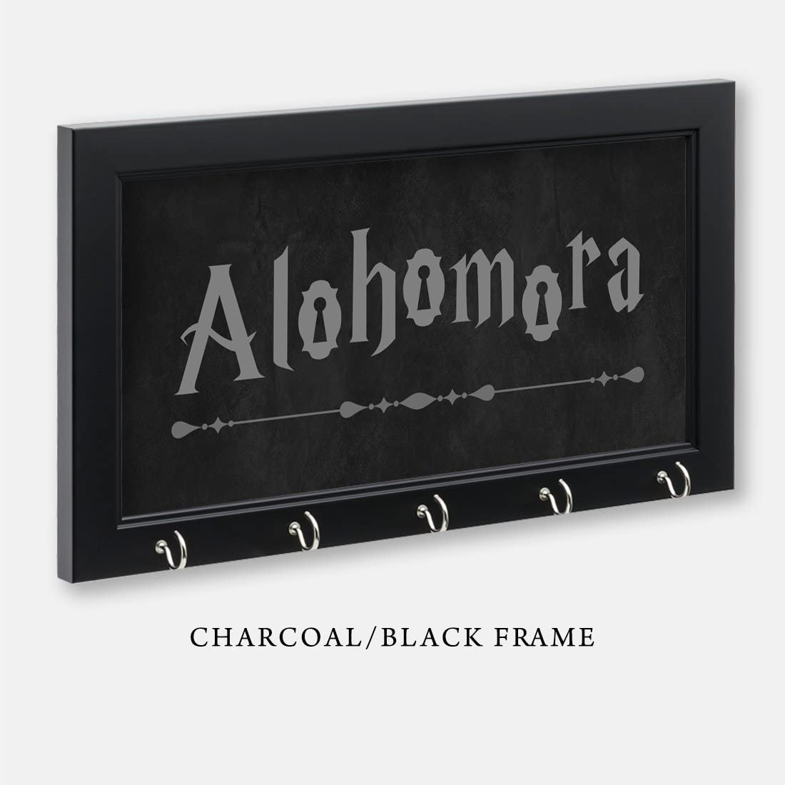 "Harry Potter Inspired Alohomora Key Holder, Charcoal/Black Frame, 11-1/2"" x 6-1/2"" With 5 Hooks"