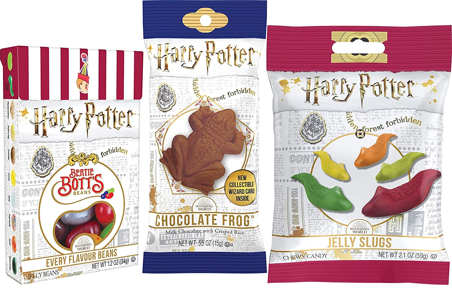 Harry Potter Jelly Gummy Candy Slugs, Bertie Botts Every Flavour Jelly Beans & Chocolate Crispy Frog (Bundle of 3 Items)