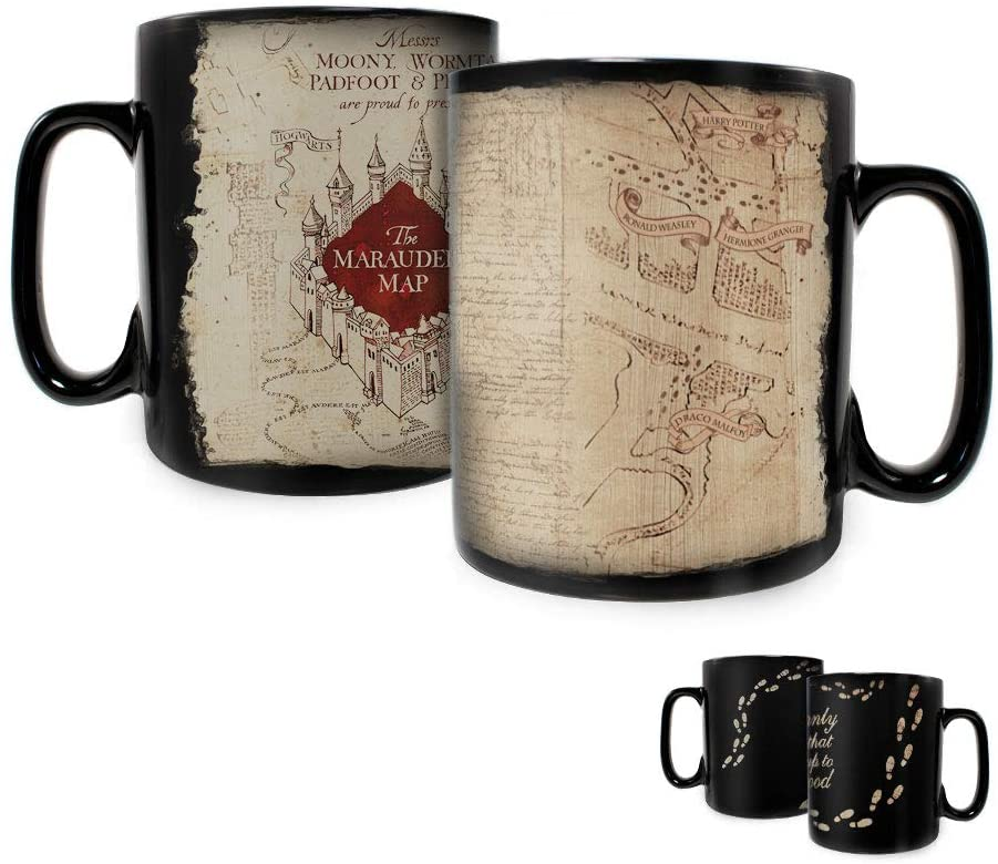 Harry Potter - Marauders Map - I Solemnly Swear – 16 oz Large Ceramic Morphing Mugs Heat Sensitive Clue Mug – Full image revealed when HOT liquid is added