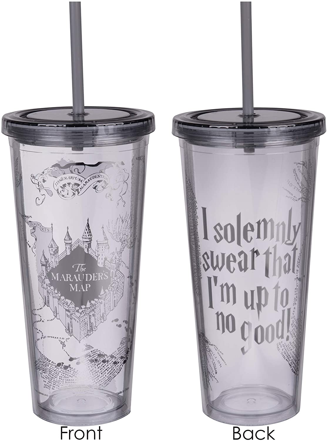 Harry Potter Marauder's Map Travel Cup with Straw - I Solemnly Swear That I Am Up to No Good - Acrylic Tumbler with Silver Design - 22 oz