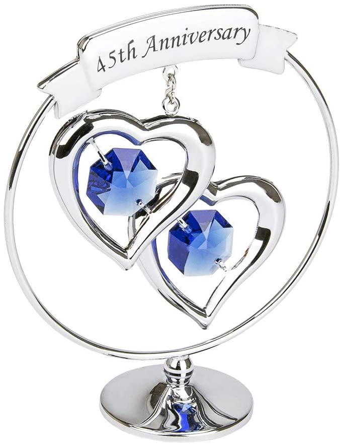 Haysom Interiors Modern 45th Anniversary Silver Plated Metal Keepsake Gift Ornament with Blue Swarovski Crystal Glass