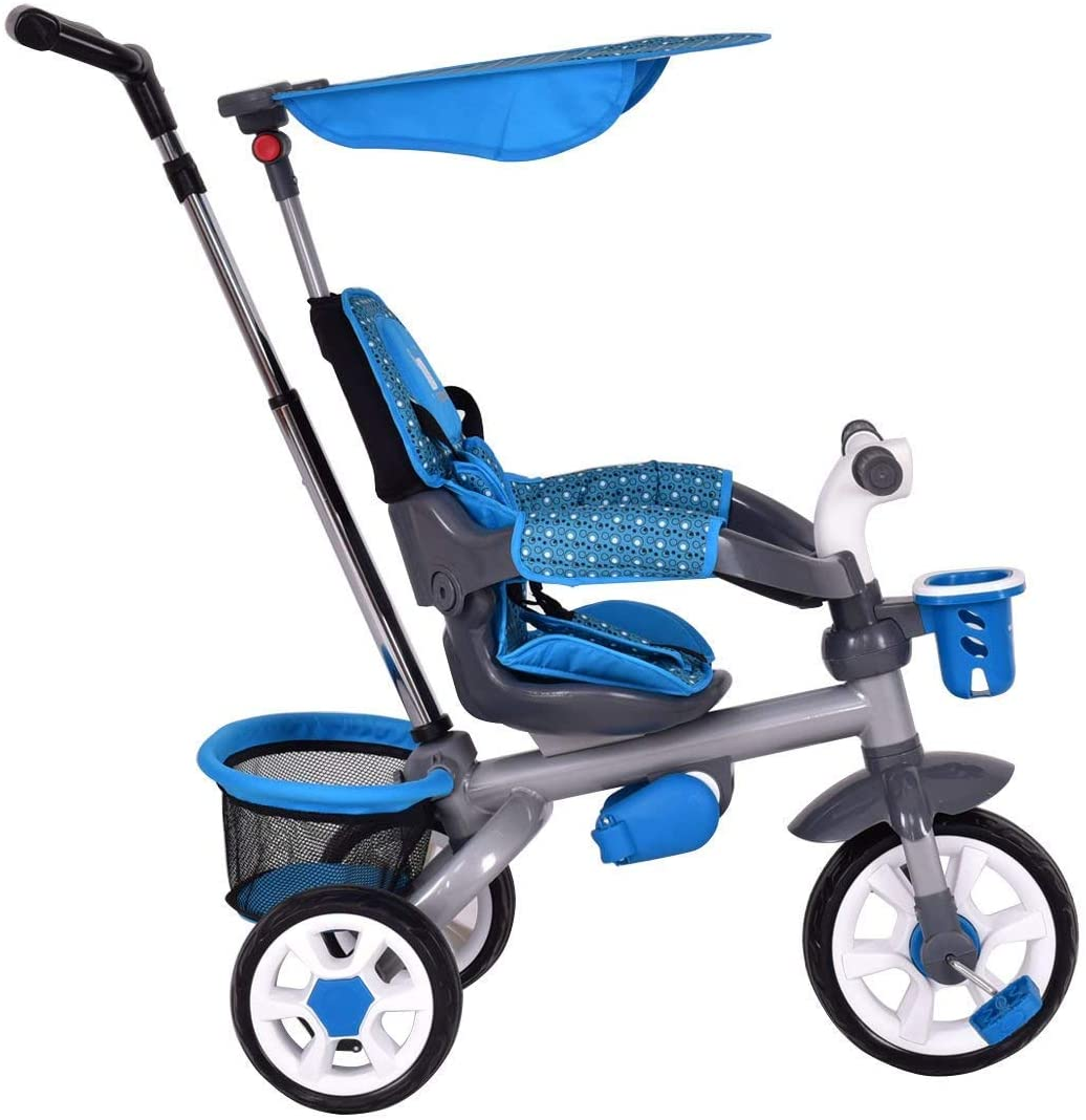 HONEY JOY 4 in 1 Twins Kids Trike Baby Toddler Tricycle Safety Double Rotatable Seat w/Basket (Blue)