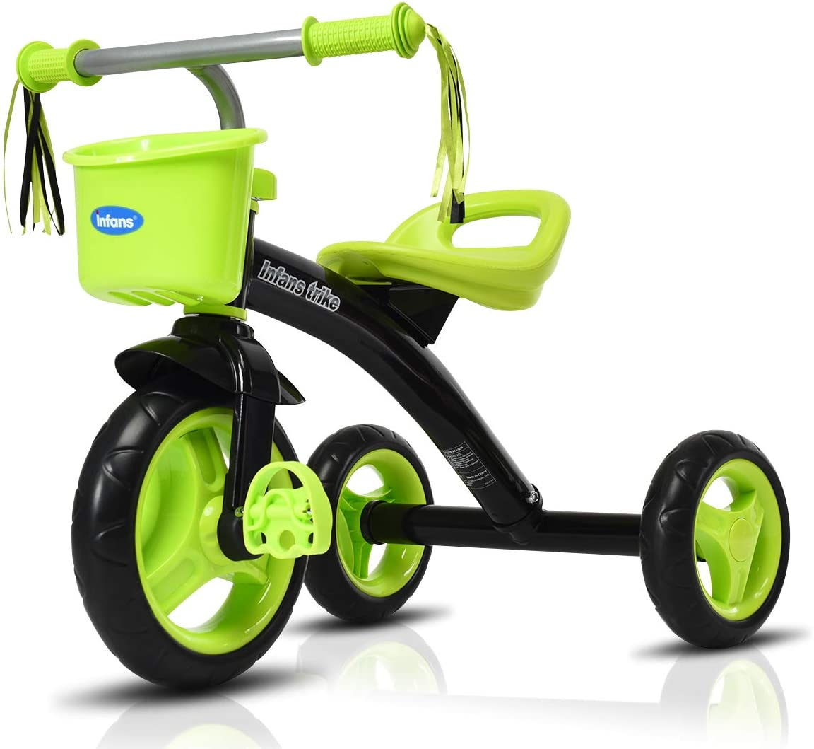 INFANS Lightweight Tricycle for Toddler & Children Age 2-5 Years, Kids 3 Wheels Pedal Trick with Inflation-Free Tires, Storage Basket, Adjustable Handlebar & Seat, Steel Frame, Quick Assembly
