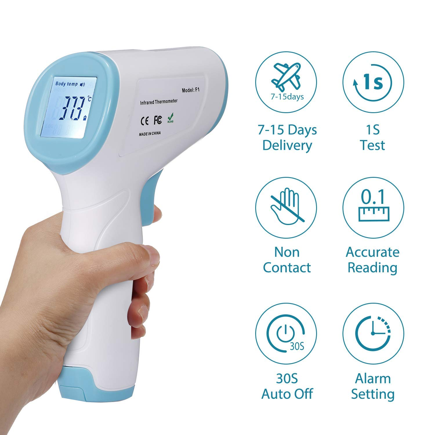 Koogeek Digital Thermometer Medical, Forehead Thermometer for Adults Baby, Non-Contact Ear Temperature Gun Infrared with Fever Alert Function, LED Display Screen, 1Second Accurate Instant Reading