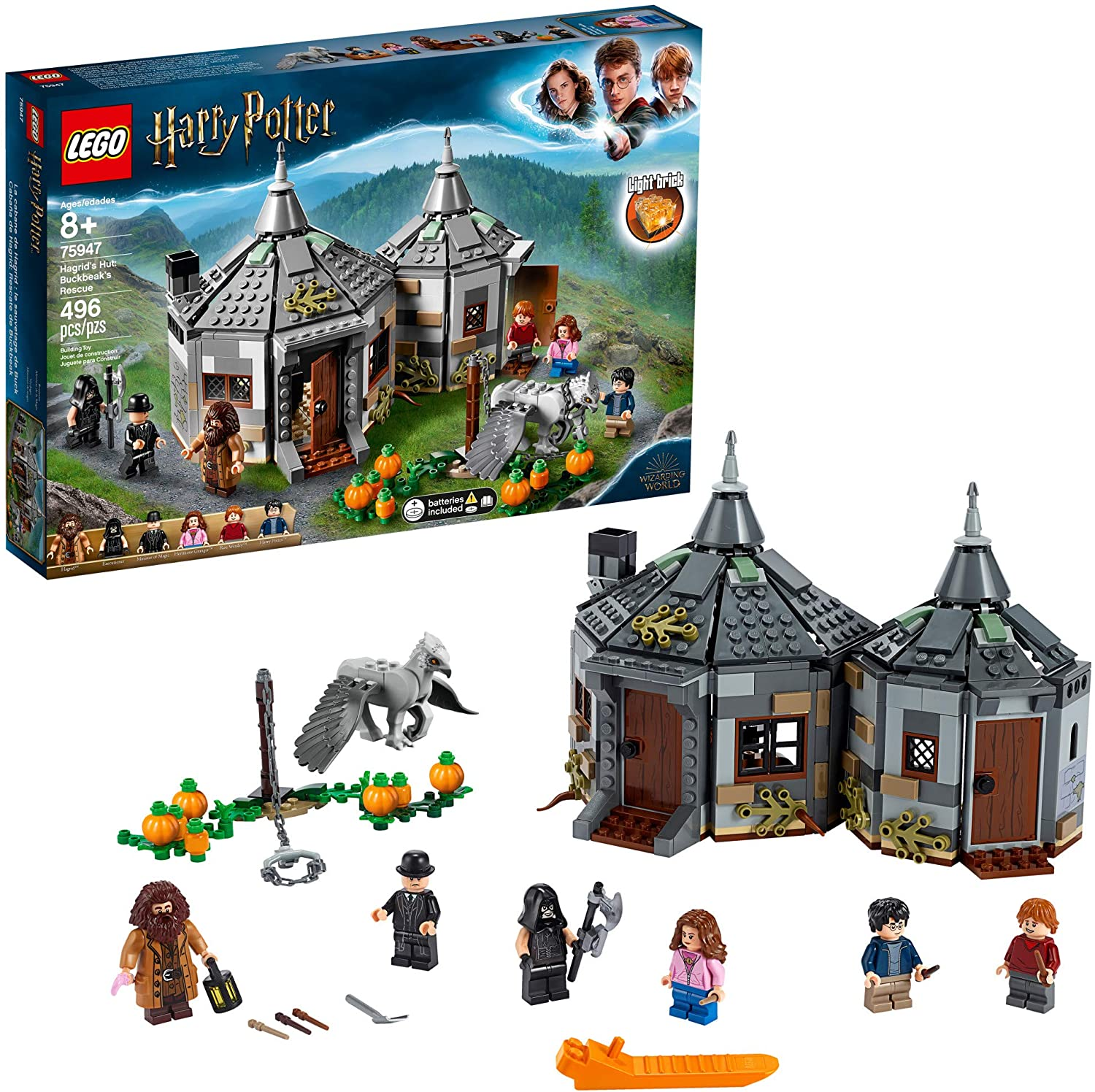 LEGO Harry Potter Hagrid's Hut: Buckbeak's Rescue 75947 Toy Hut Building Set from The Prisoner of Azkaban Features Buckbeak The Hippogriff Figure (496 Pieces)