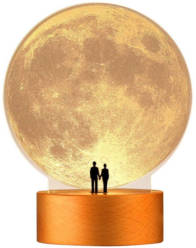 mamre Moon Night Light Anniversary Wedding Valentines Day Housewarming Gift Ideas Home Décor, Under the Supermoon of Love