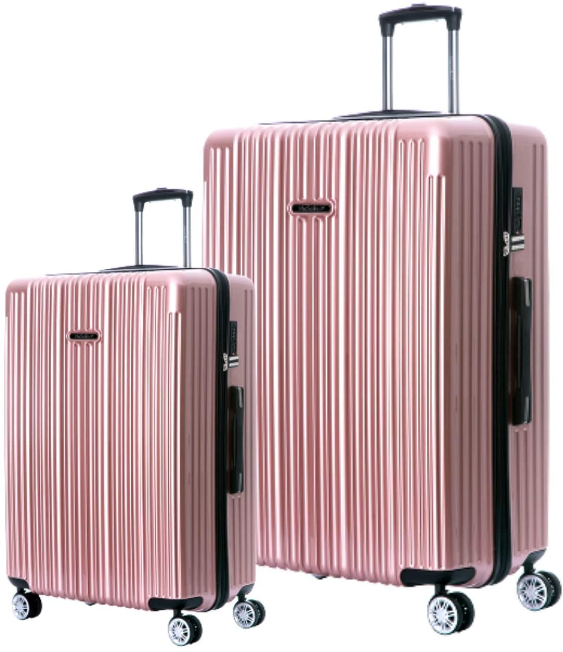 NaSaDen Hardshell Luggage Sets with Spinner Wheels Checked Carry On Luggage [ Rose Gold ] 29 Inch 22 Inch 2 Piece Set German Design TSA Lock ABS+PC