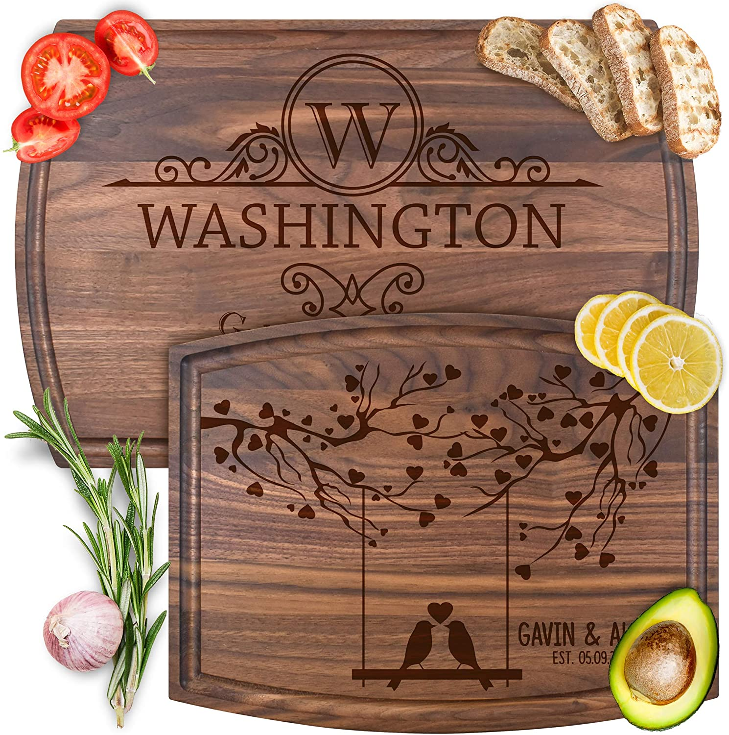 Personalized Housewarming, Anniversary & Wedding Gifts - 8 Unique Designs - Custom Engraved Wood Cutting & Serving Boards for Home & Kitchen for Parents, Couples, Young & Old - by Froolu