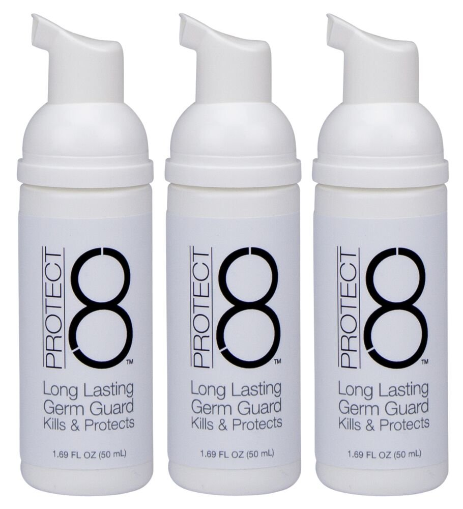 Protect 8 1.69 ounce (3-pack) foaming hand sanitizer: Alcohol-free, unscented, gentle on skin, effective against germs, bacteria, made in USA