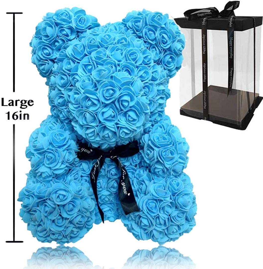 Rose Flower Bear - Trendiees Fully Assembled 16 inch Hugz Teddy Bear -Over 20 Dozen Artificial Flowers - Best Gift for Valentines Day, Anniversary, Birthdays & Bridal Showers (Blue) - w/Clear Gift Box