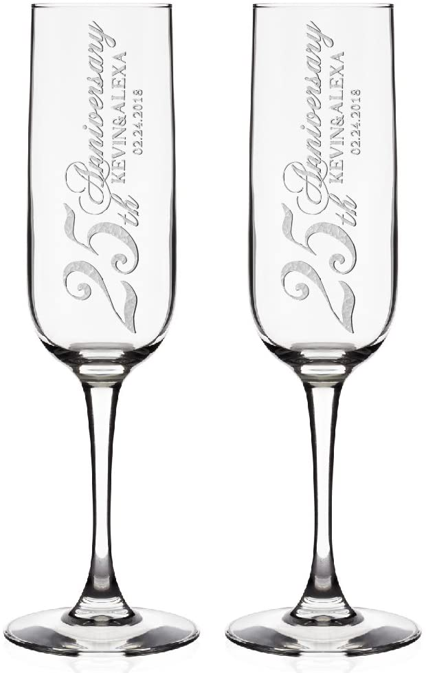 Set of 2, Personalized Champagne Flutes - Anniversary Toasting Glasses for Couples w/ Last Name and Date, Custom Engraved Champagne Glass - 50th Anniversary Gift #S17