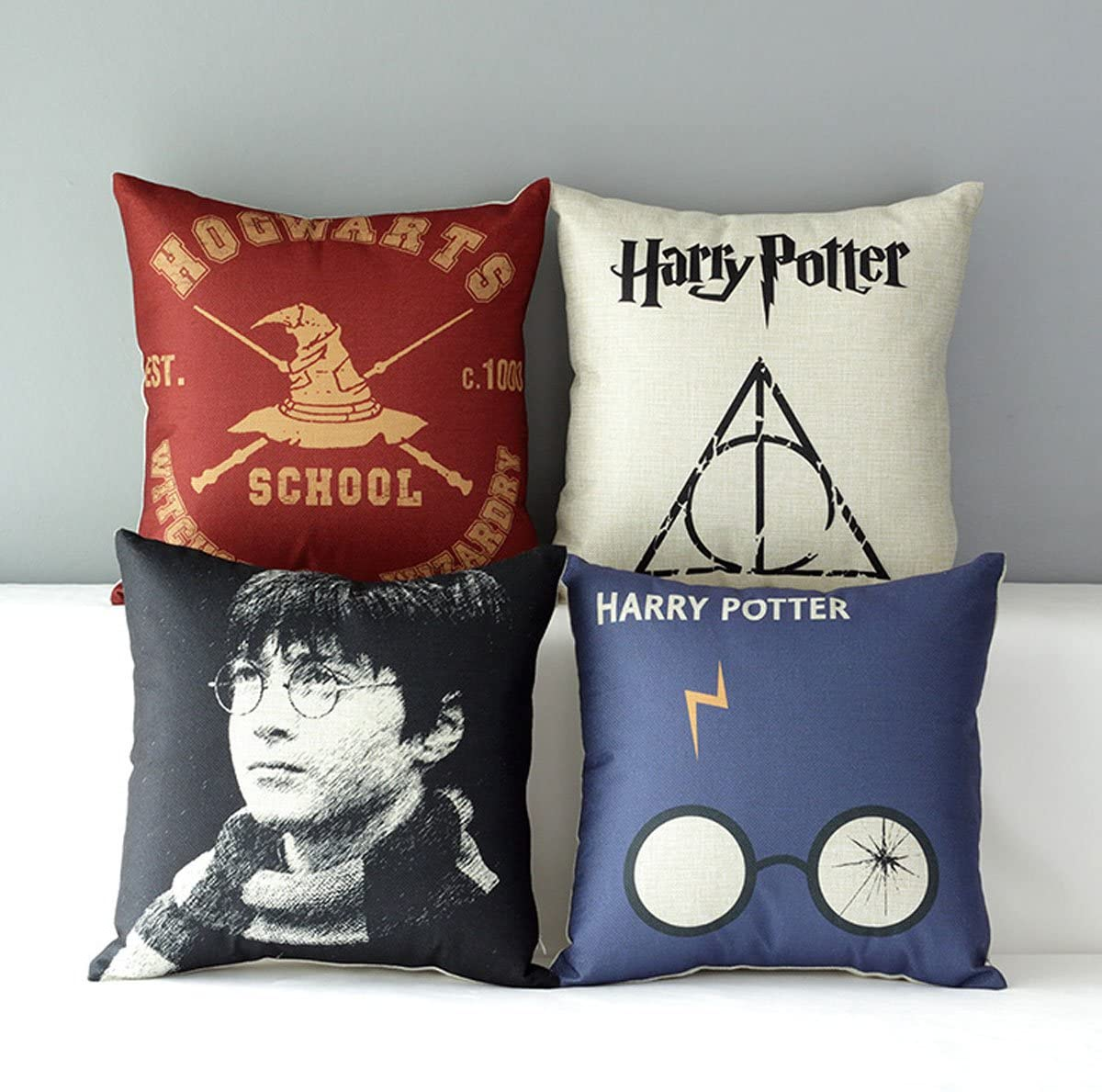 "TavasDecor 17"" Hogwarts Harry Potter Decorative Home Sofa Throw Pillow Case Cushion Cover - Bundle 4 Pieces One Set"