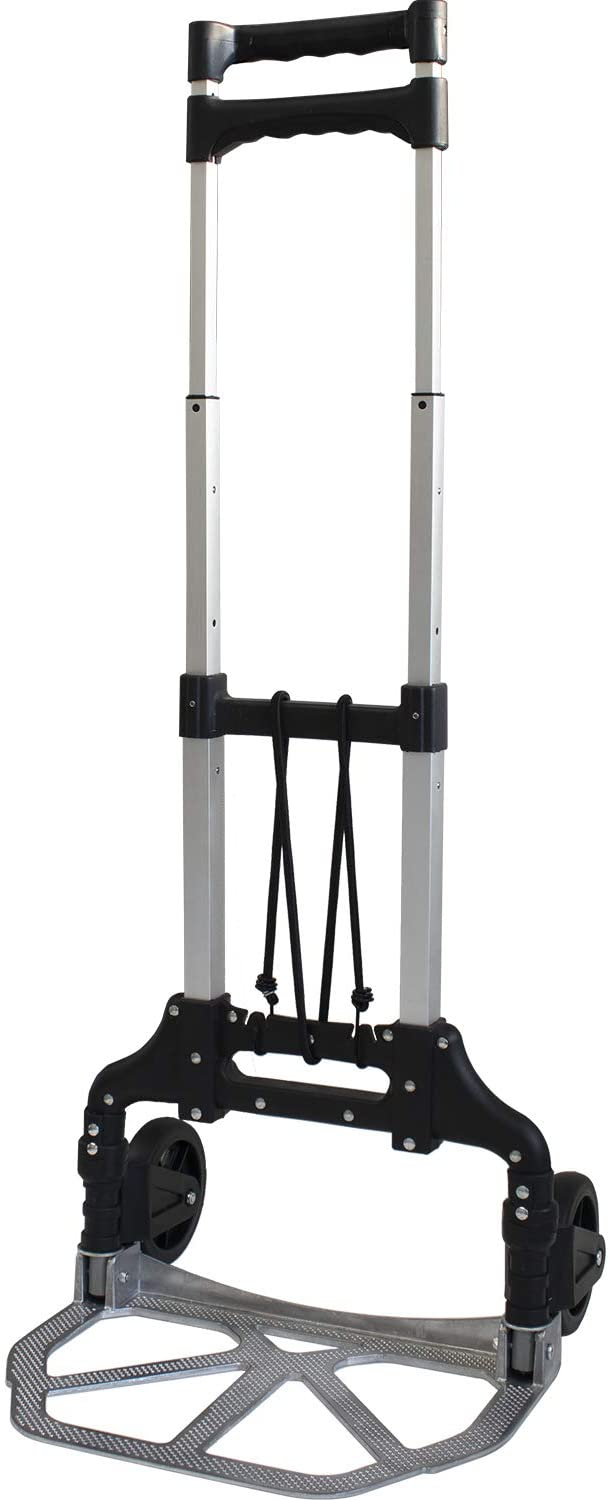 Toolman Trolley with Bungee Folding Hand Truck Dolly Aluminum Alloy Portable Luggage Cart 150LB Load Capacity Moving Equipment Great for Lifting Boxes & Luggage QTH037