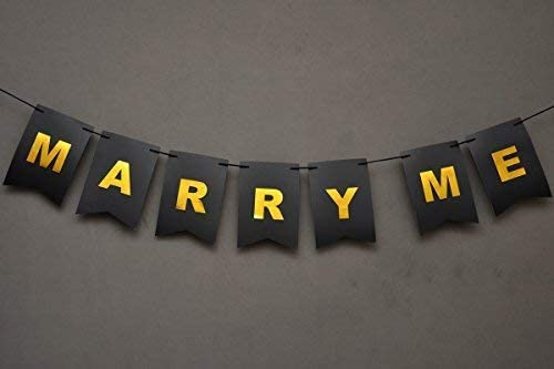 Valentine gift - Marry Me Banner - Proposal Sign - Will You Marry Sign - Wedding Banner - Engagement Sign - Romantic Proposal - Black And Gold Foiled Card - USA BRAND!! #CARD_BAN_24