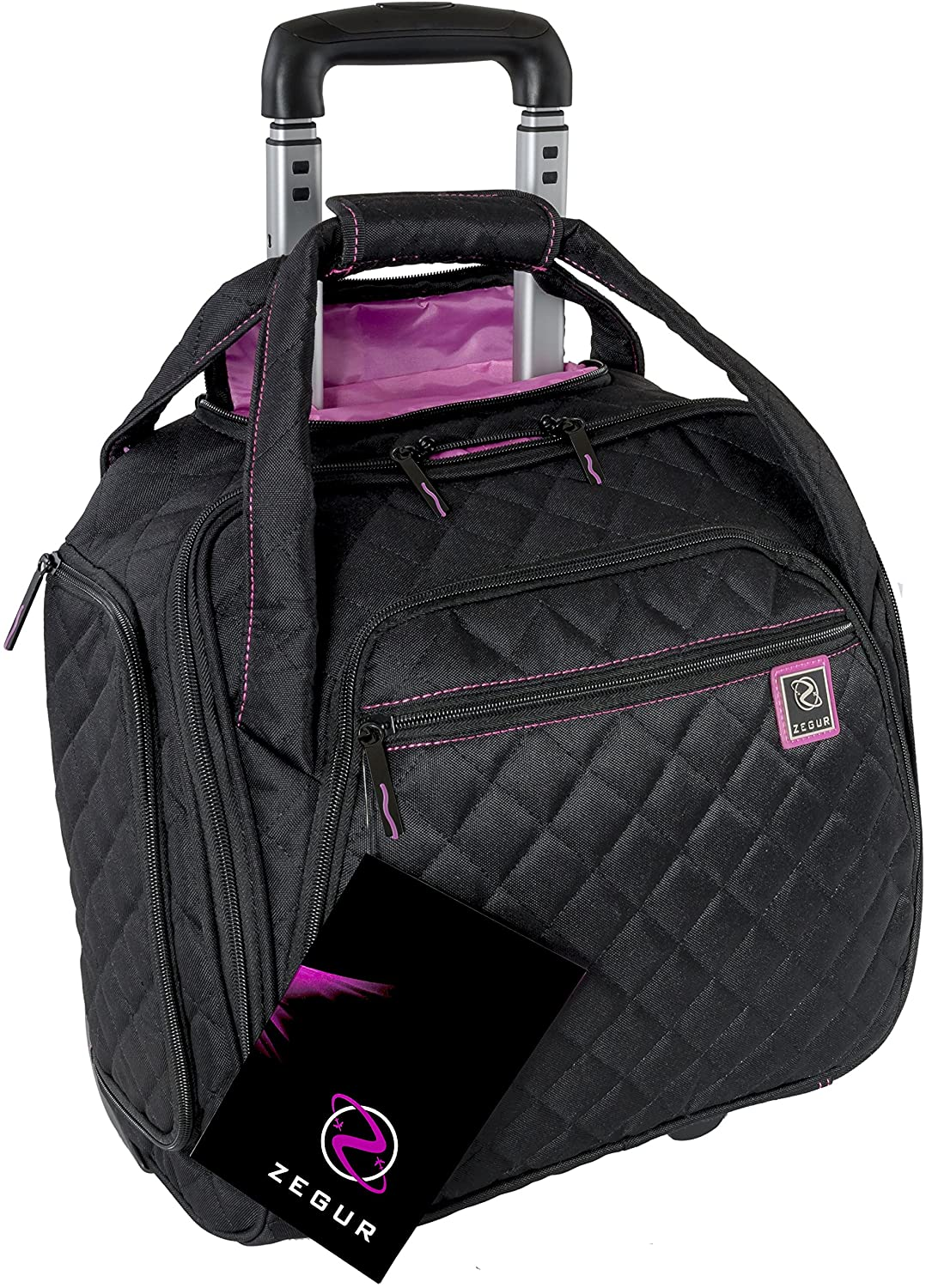 ZEGUR Quilted Rolling Underseat Carry-On Luggage - Wheeled Travel Tote Bag (Black)