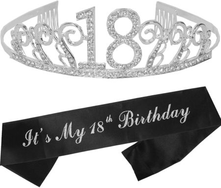 18th Birthday Tiara and Sash Silver