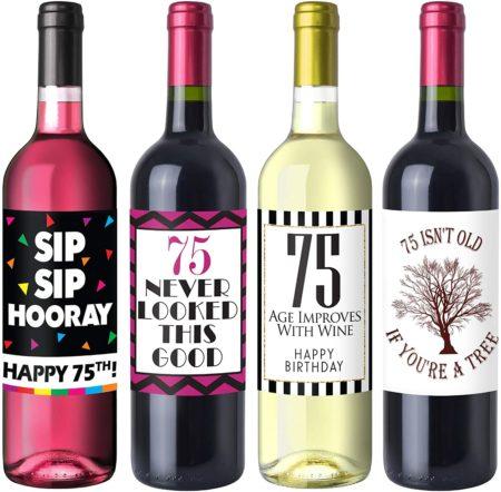 Chic 75th Birthday Wine Label Pack