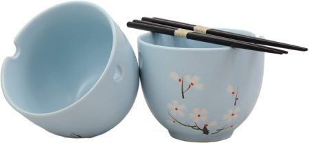 Japanese cherry blossom noodle bowls and chopsticks