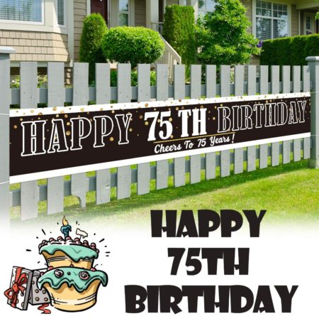 Large sign happy 75th birthday banner