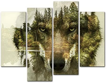 Wolf 4 Pieces Modern Canvas Painting