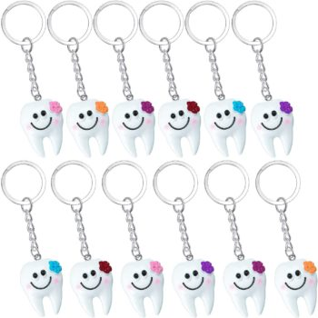 24 Pieces Resin Tooth Shape Keychain