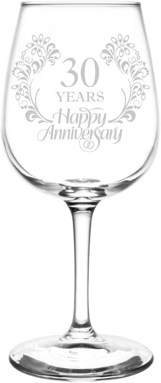 4. 30th Anniversary Laser Engraved Libbey Wine Glass