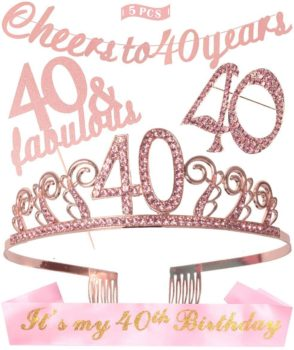 40th birthday party supplies including crown and sash