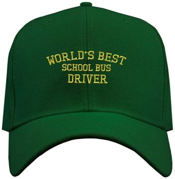 """Baseball Cap with """"Worlds Best School Bus Driver"""" Embroidery"""