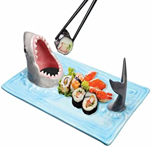 Shark Attack Hand-Painted Ceramic Food Serving Tray