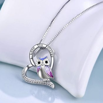 YFN Sterling Silver Owl Heart-Shaped Necklace