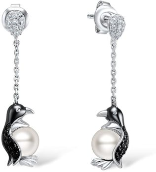 Silver Penguin Pearl Earrings for Women