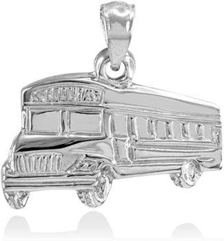 Fine 925 Sterling Silver School Bus Charm Pendant