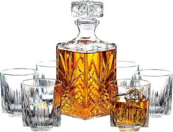 7-Piece Italian Crafted Glass Decanter & Whisky Glasses Set