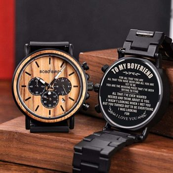 Men's personalized wooden watches
