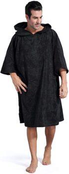 Towel poncho with hood