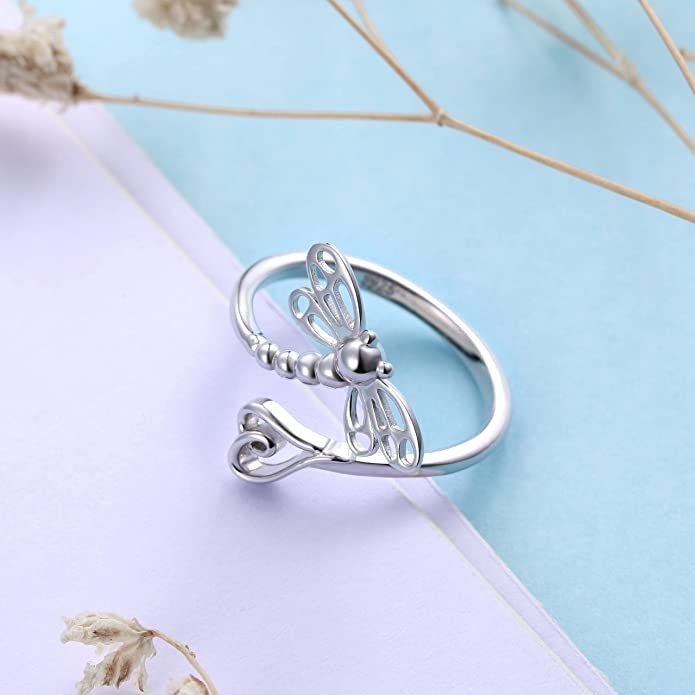 8. Open Heart Dragonfly Ring