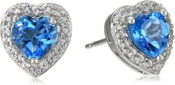 Sterling Silver Birthstone Halo Heart Stud Earrings