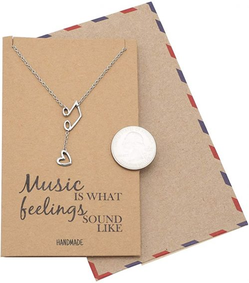 11. Quan Jewelry Music Note Treble Clef Necklace