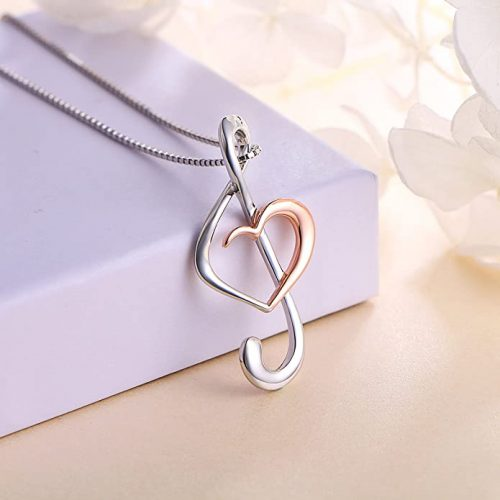 4. 925 Sterling Silver Musical Note Necklace Pendant