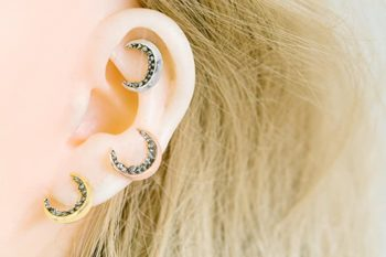 Black Piercing Earrings