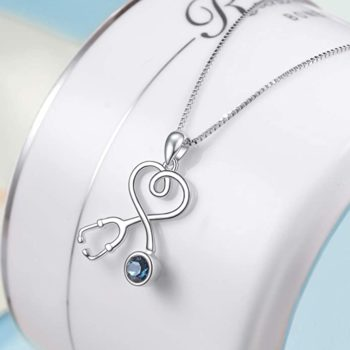 AOBOCO Sterling Silver Stethoscope Necklace