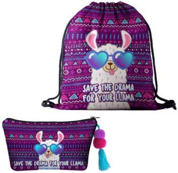 Amycute 2 PCS Alpaca Drawstring Bags