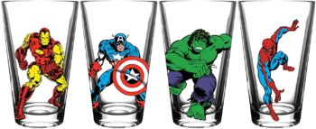 Avengers Pint Glass Set with Classic Shapes